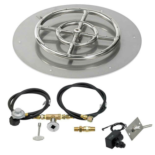 """American Fireglass 18"""" Round Flat Pan with Spark Ignition Kit - Propane"""