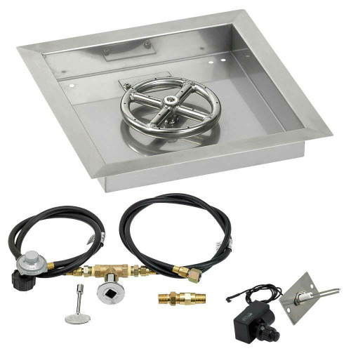 """American Fireglass 12"""" Square Drop-In Pan with Spark Ignition Kit - Propane"""
