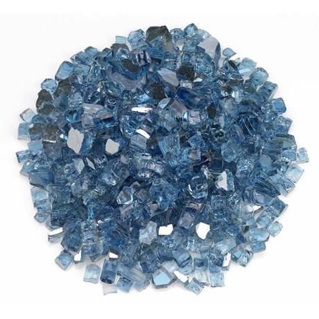 """American Fireglass 1/2"""" Pacific Blue Reflective Fire Glass 10lbs"""