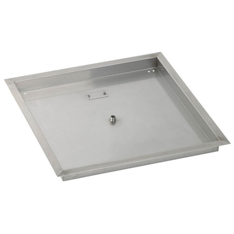 """American Fireglass 24"""" Square Stainless Steel Drop-In Fire Pit Pan"""