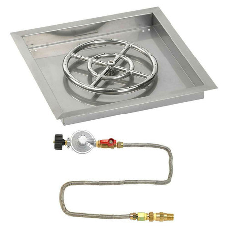 """American Fireglass 18"""" Square Drop-In Pan with Match Lite Kit - Propane"""