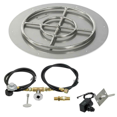 """American Fireglass 24"""" Round Flat Pan with Spark Ignition Kit - Propane"""