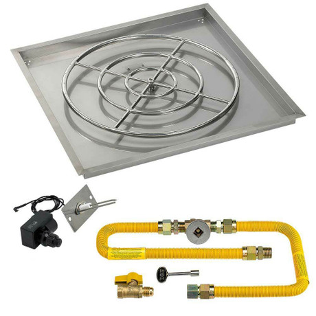 """American Fireglass 36"""" Square Drop-In Pan with Spark Ignition Kit - Natural Gas"""