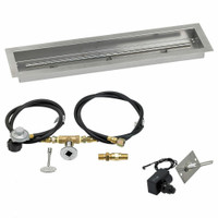"American Fireglass 30""x6"" Linear Drop-In Pan w/ Spark Ignition Kit - Propane"