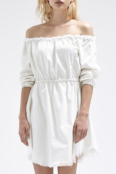 Harley Dress, Ivory Denim