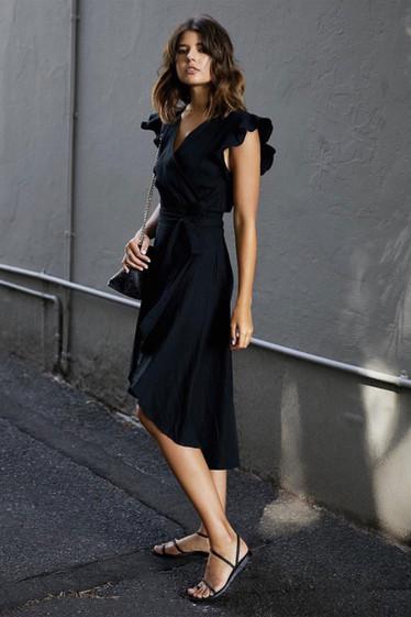 Olivia Dress, Black Linen