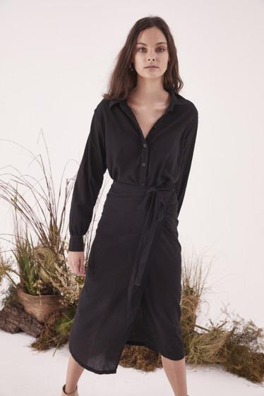 Stevie Wrap Dress, Black