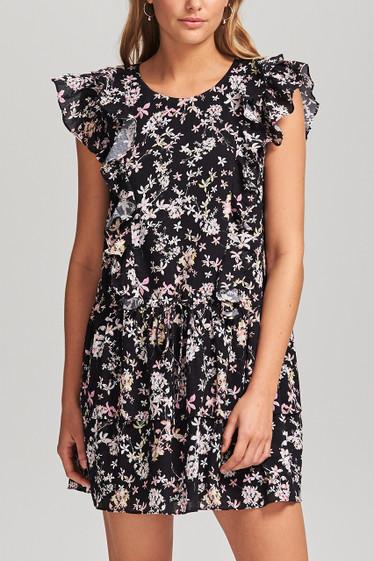Le Bloom Mini Dress, Noir