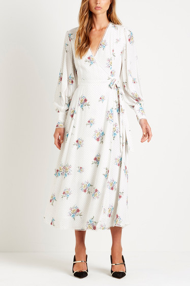 Bellflower Maxi Dress, Blanc