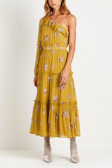 Bellflower One Shoulder Dress, Saffron