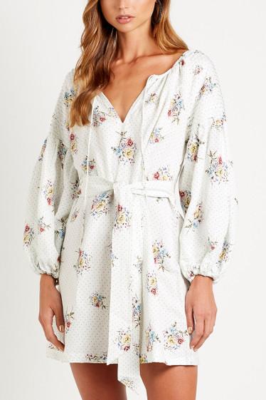 Bellflower Smock Dress, Blanc