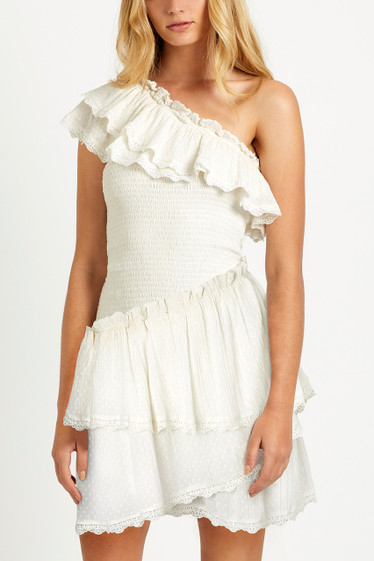 Melody Ruffle Dress, Porcelain