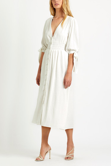 Brighton Button Dress, Ivory