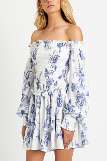 Sofia Off Shoulder Dress, Sky Rosetta