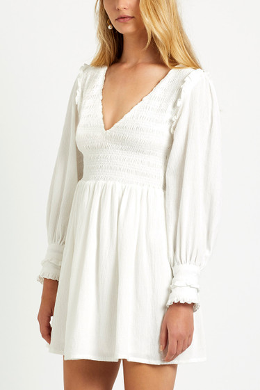 Brighton V Neck Dress, Ivory