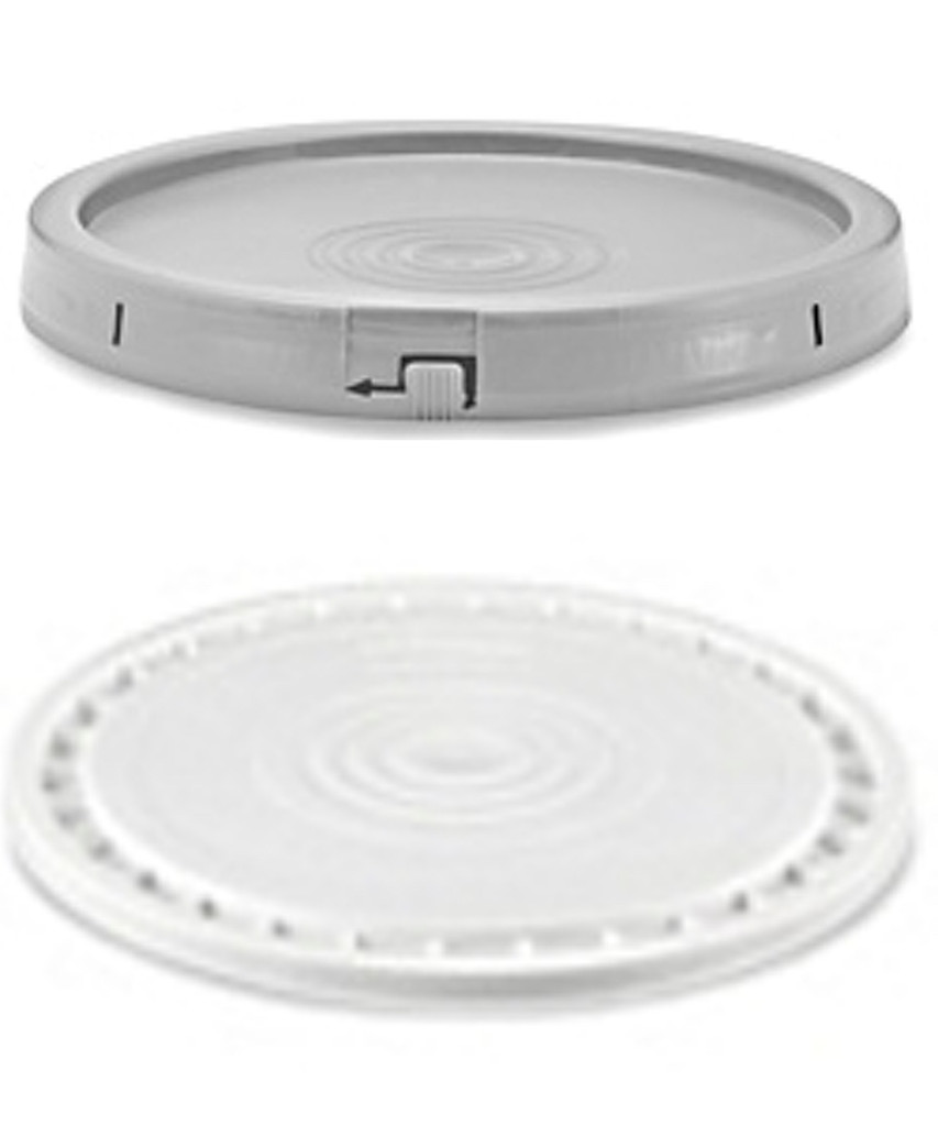 Optional Secure Lid for 5-7 Gallon Plastic Containers. Forms air tight seal. Once on have to pull off plastic ring seal. Maybe re-used but not secured after.