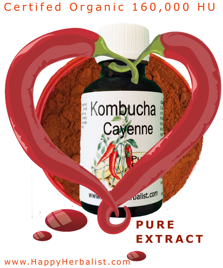 We produce our own extracts using 100% Pure  Distilled Kombucha Tea and Glycerin. Get all the benefits of cayenne with the power of Kombucha Tea and  its beneficial Acids