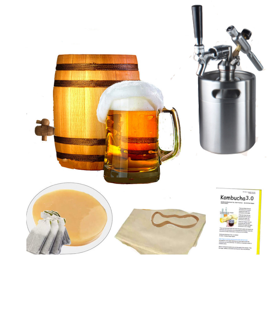 HappyHerbalist Complete Kombucha Oak Barrel Brewing System with Mini keg