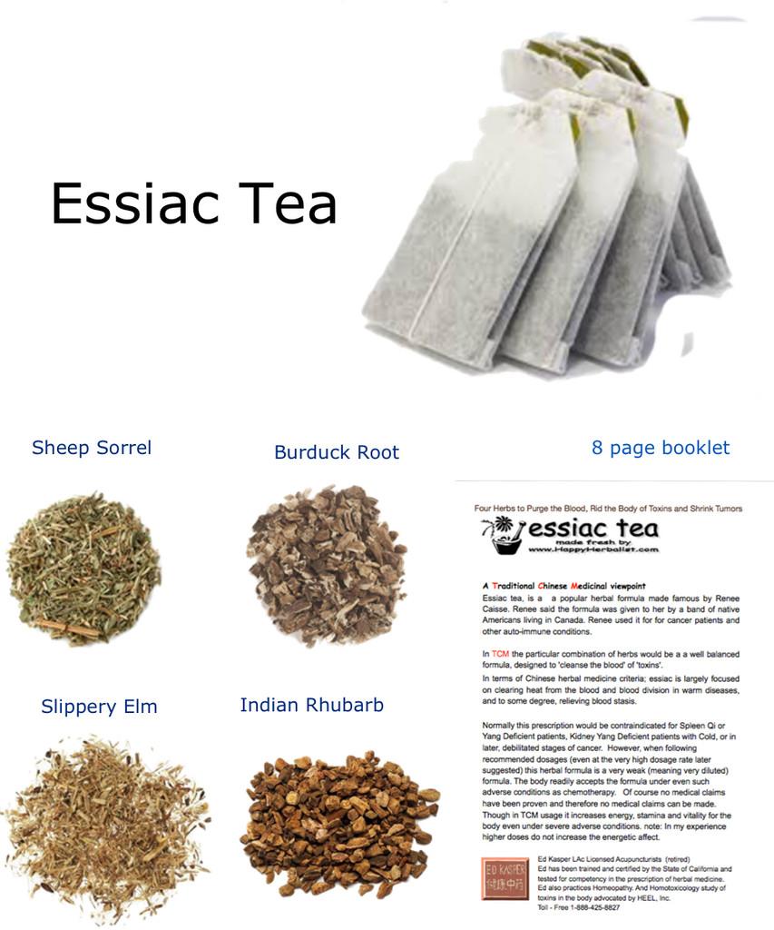 certifed organic essiac tea's 4 tea formula and recipe
