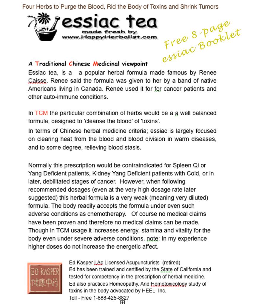 Cancer cure essiac herbal tea - Free Essiac 8 Page Booklet