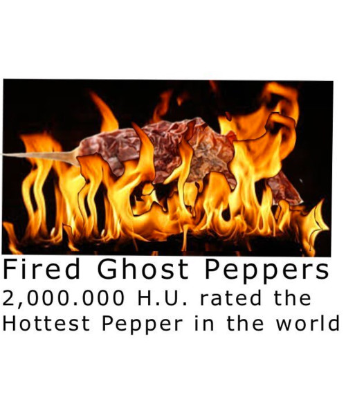 For those that don't think 160,000 HU is hot enough .... we offer our fire roasted Ghost Peppers. These are whole Ghost Peppers roasted. We do not powder nor will we extract these peppers --- because the oil gets in the air and this stuff REALLY BURNS.  2,000,000 Scoville heat units - is what we're told. . And no I never got close enough to taste one, nor am I about to.