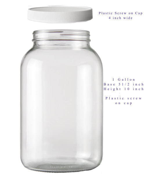 One Gallon Glass Jar with Plastic Lids