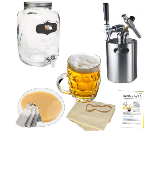 HappyHerbalist Complete Kombucha Brewing System with Mini keg