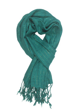 In-Sattva Colors - Decorative Vertical Stripe Embellished Scarf Stole - Emerald