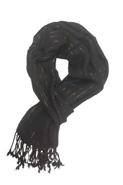 In-Sattva Colors - Decorative Vertical Stripe Embellished Scarf Stole - Black