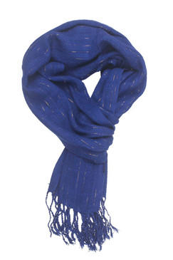 In-Sattva Colors - Decorative Vertical Stripe Embellished Scarf Stole - Dazzling Blue