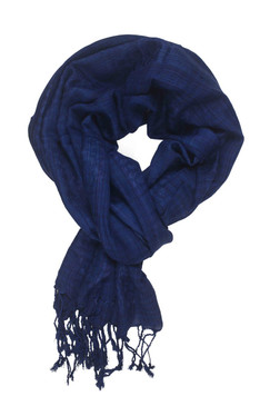 In-Sattva Colors - Checkered Print Scarf Stole - Blue
