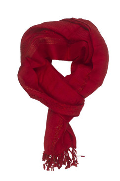 In-Sattva Colors - Decorative Border Scarf Stole Wrap - Deep Red
