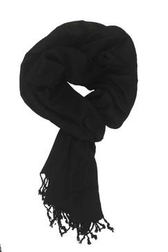 In-Sattva Colors - Decorative Border Scarf Stole Wrap - Black