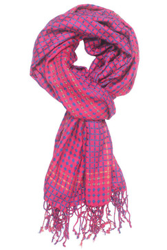 In-Sattva Colors - Vertical and Horizontal Stripe Multi Color Scarf Stole - Fuschia
