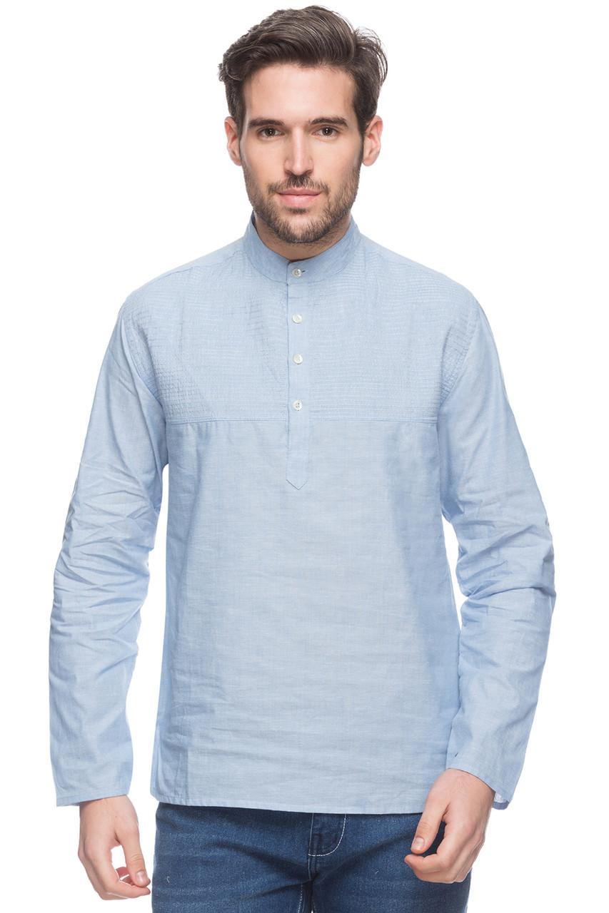 Shatranj Men S Indian Short Kurta Tunic Banded Collar