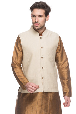 Men's Indian Natural Mandarin Collar Button Down Vest