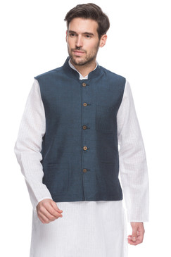 Men's Indian Blue Mandarin Collar Button Down Vest