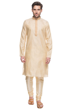 Men's Indian Beige Kurta Tunic Pajama Set With Embroidery