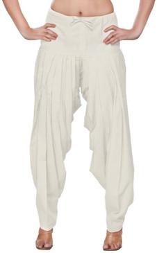 Womens Indian Ethnic Bottomwear Patiala Pants-Off White