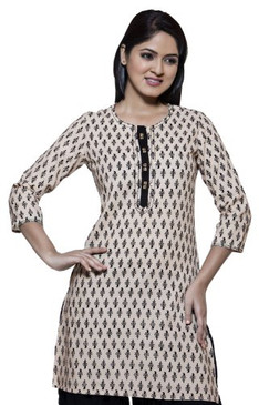 Womens Indian Ethnic Casual Kurta Tunic Beige