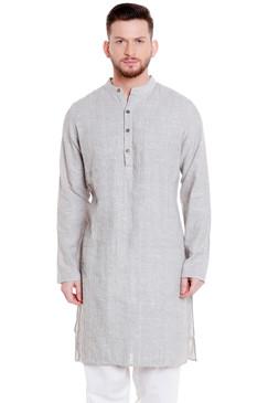Shatranj Men's Indian Banded Collar Cotton Kurta Tunic with Vintage Pintucks