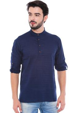 In-Sattva Men's Mandarin Collar Henley Style Short Fitted Kurta Tunic Navy