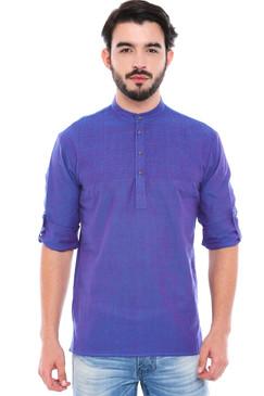 In-Sattva Men's Mandarin Collar Henley Style Short Fitted Kurta Tunic Blue