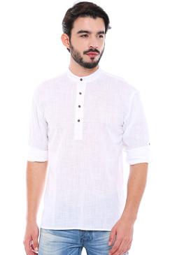 In-Sattva Men's Mandarin Collar Henley Style Short Fitted Kurta Tunic White