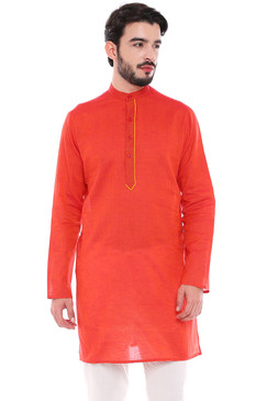 In-Sattva Men's Indian Classic Pure Cotton Kurta Tunic with Stylized Placket