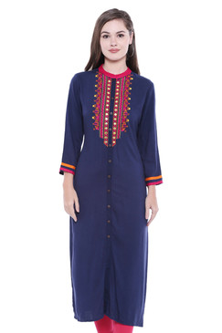 Women's  Indian Button Down Kurta Tunic Shirt | In-Sattva