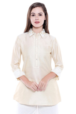 In-Sattva Women's Indian Summer Embroidered Placket Classic Kurta Tunic Shirt