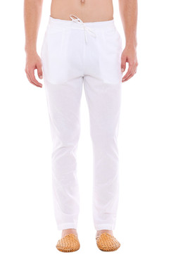 In-Sattva Men's Indian Pure Cotton Solid Straight Cut Pajama Pants White