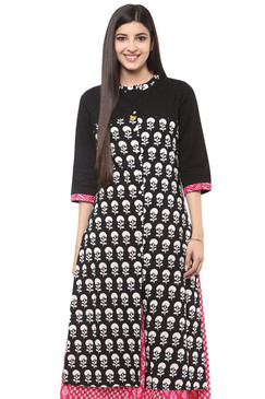 Long Kurta Tunic Shirt - 100% Cotton Artisan Print | In-Sattva - Front