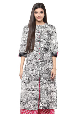 Women's Kurta Tunic Shirt- 100% Cotton Abstract Print | In-Sattva - Front